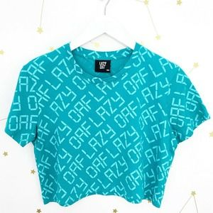 Lazy Oaf • Blue Digital Spell Out Cropped Tee